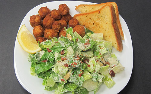Boneless Dry Ribs with Caesar Salad & Garlic Toast